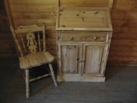 Solid pine carved writing bureau with fiddle back dining chair