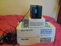 BRAND NEW SKY PLUS HD TWO BOXES WITH REMOTES CABLES PLUS TWO SKY HUBS 2TB & 500 NEW IN BOXES DELIVER