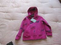Brand new John Lewis Pink cotton hoodie zip cardigan with horse prints and hood - Age 4 yrs