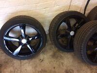"""Black 17"""" 5 spoke alloys with tyres"""
