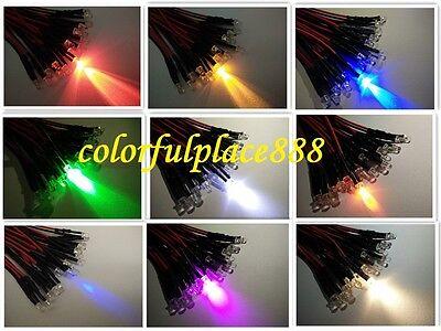 3mm 5V 6V 7V Pre-Wired Red Yellow Blue Green Warm White Orange UV Pink LED 20CM