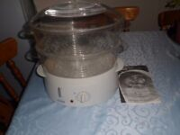 Super Haden 2 Tier Electrical Steamer with Rice Bowl + Instructions VGC
