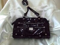 NEW - FIORELLI - BLACK - PATENT - TWO HANDLE GRAB BAG