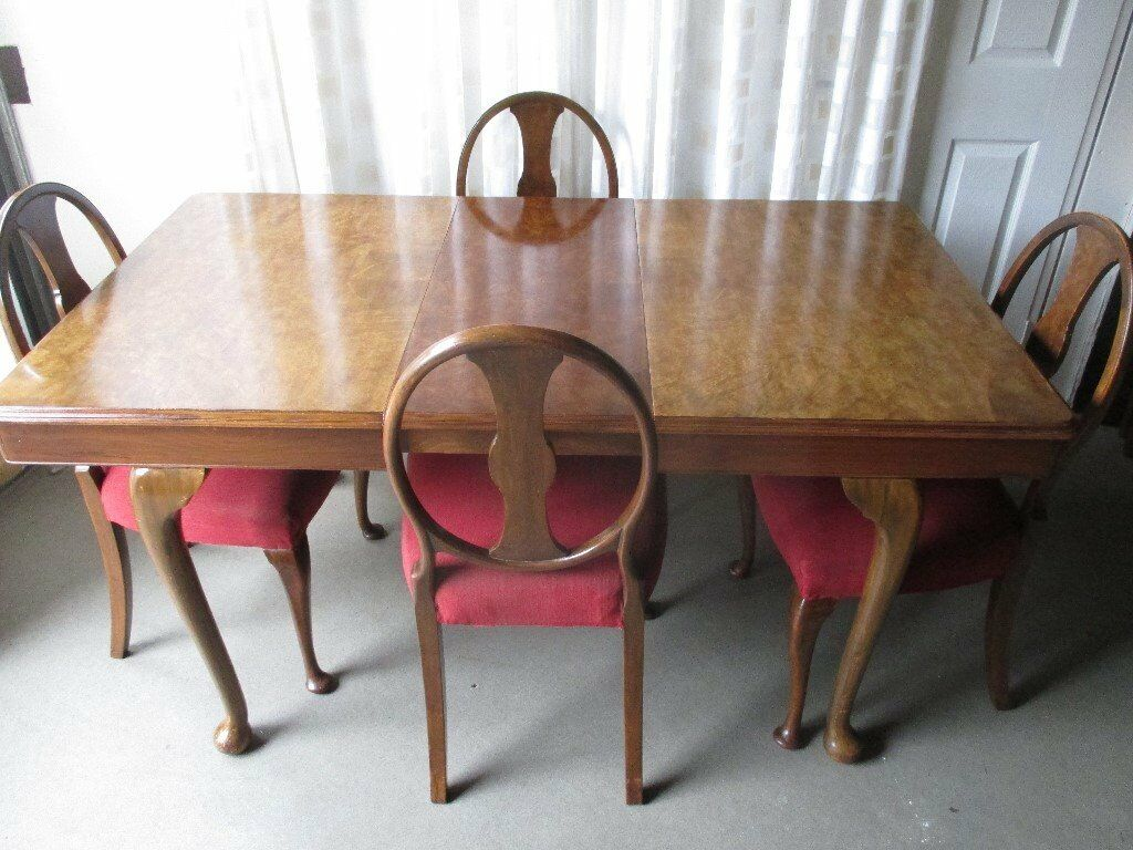 Vintage Walnut Extending Dining Table With Four Walnut