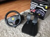thrustmaster ferrari steeering wheel and pedals