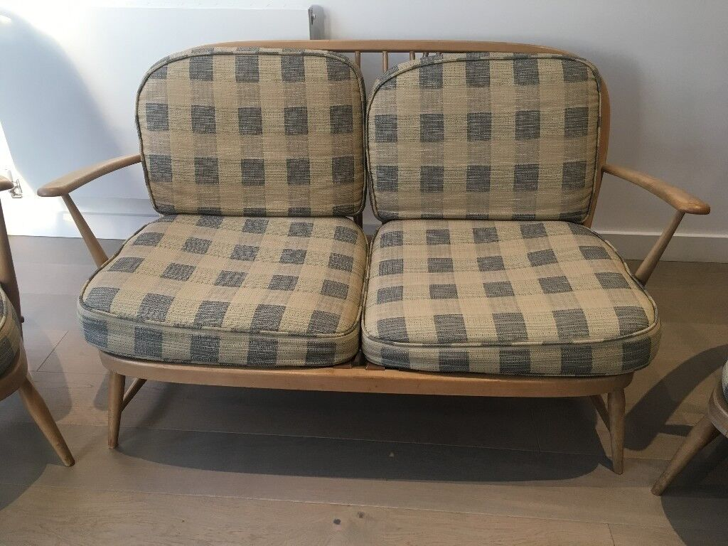 Mid Century Modern 1965 Ercol Windsor Bergere Small Two