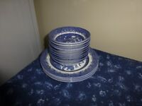 blue and white china 10 bowls 4 plates yeoldewillow