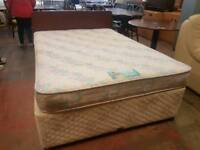 Double mattress and divan base set with drawers and headboard set