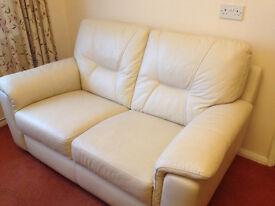 Harveys Cream Leather Two Seater Sofa RRP £1200