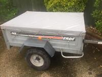 Larger Erde 142 tipping trailer + cover
