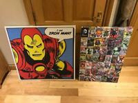 Retro Kids Canvases (iron man / dc comics)