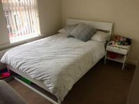 Bed, mattress, cupboard, desk, chair, bedside table