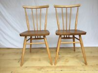 Pair two Vintage Ercol 391 everyday stickback dining kitchen chairs 1960s 70s