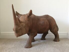 Large Wooden Rhino Sculpture (original one off commissioned piece)