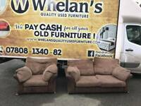 2 and 1 seater sofa in brown fabric and cirderoy £139
