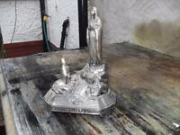 VINTAGE STATUE / MUSIC BOX SHOWING OUR LADY APPEARING AT LOURDES BOUGHT AT LOURDES