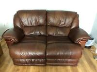 2 & 3 seater brown leather electric recliner sofas