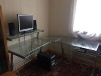 Glass L-Shaped Desk for sale, £10!!! collection only please. Used but in great condition!