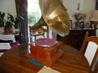 His Masters Voice Reproduction Wind up Gramophone