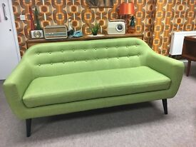Lime Green Retro 1950's 1960's Style Reproduction Made Ritchie 3 Seater Sofa Couch
