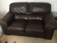 brown leather sofa, 2 seater and 3 seater