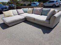L shaped DFS grey sofa