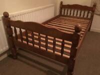 Single pine bed frame with clean mattress- FREE DELIVERY