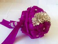 Crystal Bridal Bouquet Purple