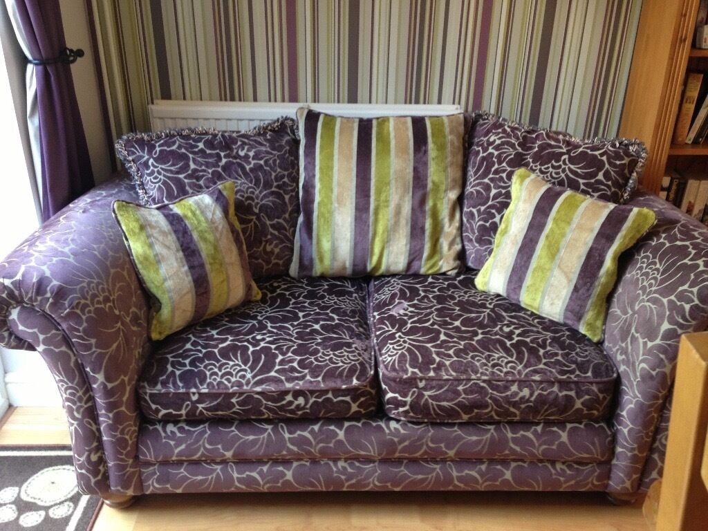 X2 green purple floral sofas 2 seater and 3 seater in taverham norfolk gumtree