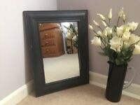 Vintage style wide frame mirror painted dark charcoal grey