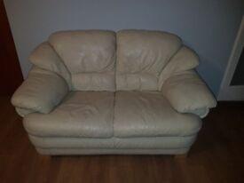 2 White Leather Sofas