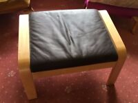 Ikea Poang Footstool (Birch legs and Brown Leather cushion) Brand New