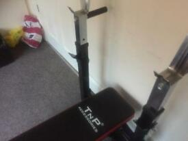 For free Bench and dumbbells and bar