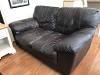 2 Seater Brown Leather Sofa-FREE