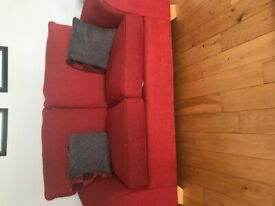 REDUCED - Red Chenille Sofa 3 + 2 + 1
