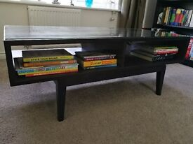 Ikea Regissor Coffee Table - black/brown with removeable glass top