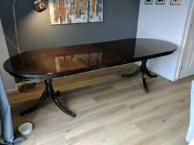 6-10 Double Leaf Seated Dark Wood Dining Table