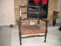 CHILDS ARM CHAIR LEATHER SEAT £45