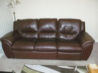 REIDS BROWN LEATHER SUITE, IN VERY GOOD CONDITION