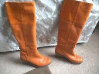 Orange boots - Brand: FlipFlop - UK size 4 (37) - 70mm heel (3in)