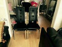 4 black leather chrome chairs
