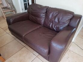Sofa 2 seat, Brown leather good condition