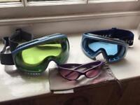 Ski goggles and animal sunglasses
