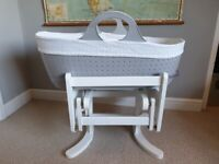 Moba plastic moses basket (like Tommee Tippee Sleepee) and Mothercare gliding stand.