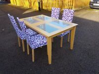 rosted Glass & Wood Table & 4 Ikea Aaron Chairs FREE DELIVERY 393