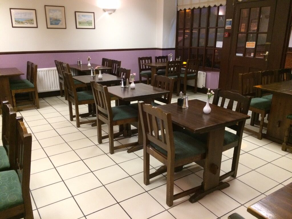Wood restaurant furniture - Very Good Quality Used Wooden Restaurant Tables And Chairs Dark Wood And Green Fabric Cover