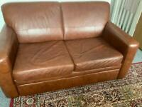 Leather double sofa bed dark tan
