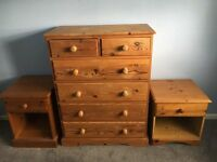 Second hand bedroom drawers and bedside cabinets