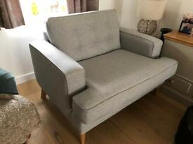 Next Grey Stockholm Snuggle Seat (2 seater) - Like New - RRP £550