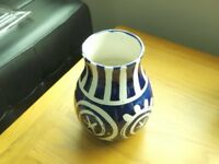 "8"" high by 7"" breadth blue & white ceramic bulgouse vase, Italien . Wonderful display piece"